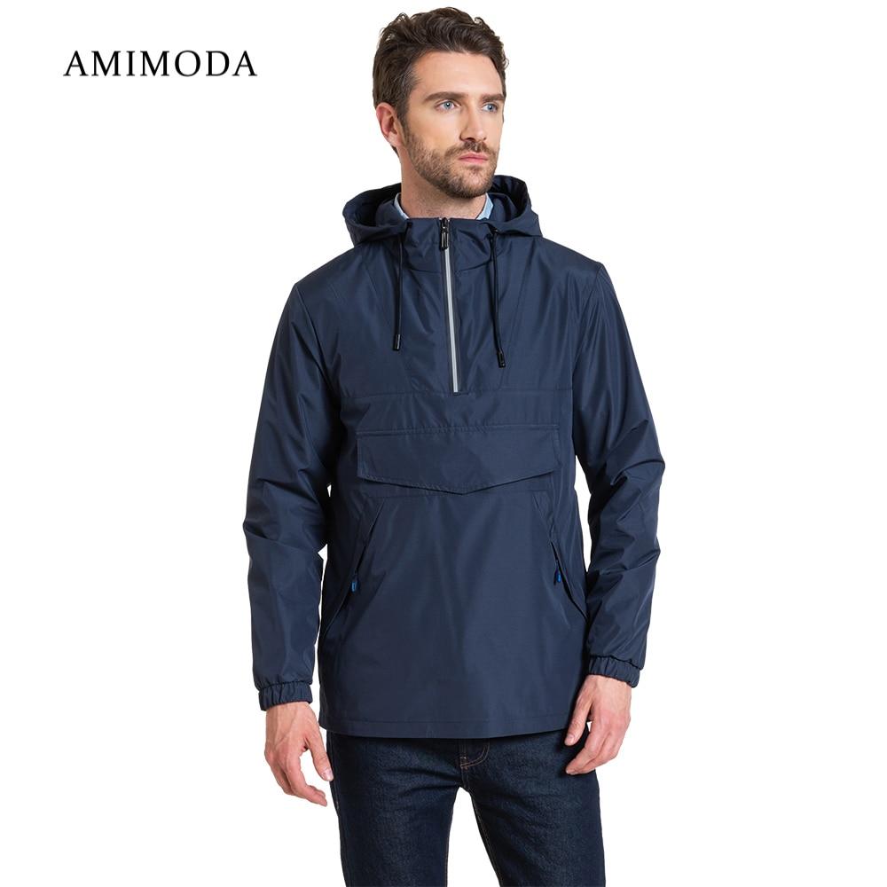 Jackets Amimoda 10029-02 Men\'s Clothing windbreakers for men cloak jacket coat parkas hooded self tie waist solid hooded coat