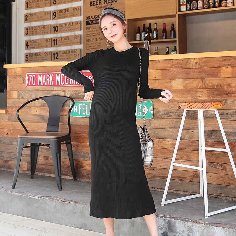 Knitted Maternity Sweaters Dress Autumn Winter Elegant Slim Thin Clothes For Pregnant Women Pregnancy Knitted Dress Free Size autumn winter women knit dress slim package pregnant knitted dresses vestidos fashion maternity dress h281