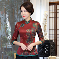 Chinese Women Satin Blouse New Style Elegant Shirt Vintage Mandarin Collar Tang Tops Novelty Print Shirts Oversize 3XL 4XL
