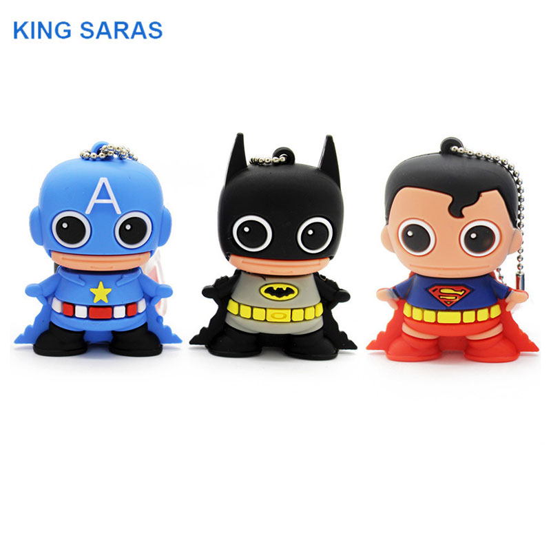 KING SARAS 64GB Cool New Style Batman Superman Capta Style  4GB 8GB 16GB 32GB Usb Flash Drive Usb 2.0  Pendrive