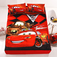 Cartoon Mc Queen Flannel Fitted Sheet with an Elastic Band Bed Sheets Linen Bedspread Polyester Mattress Cover Single Twin Full