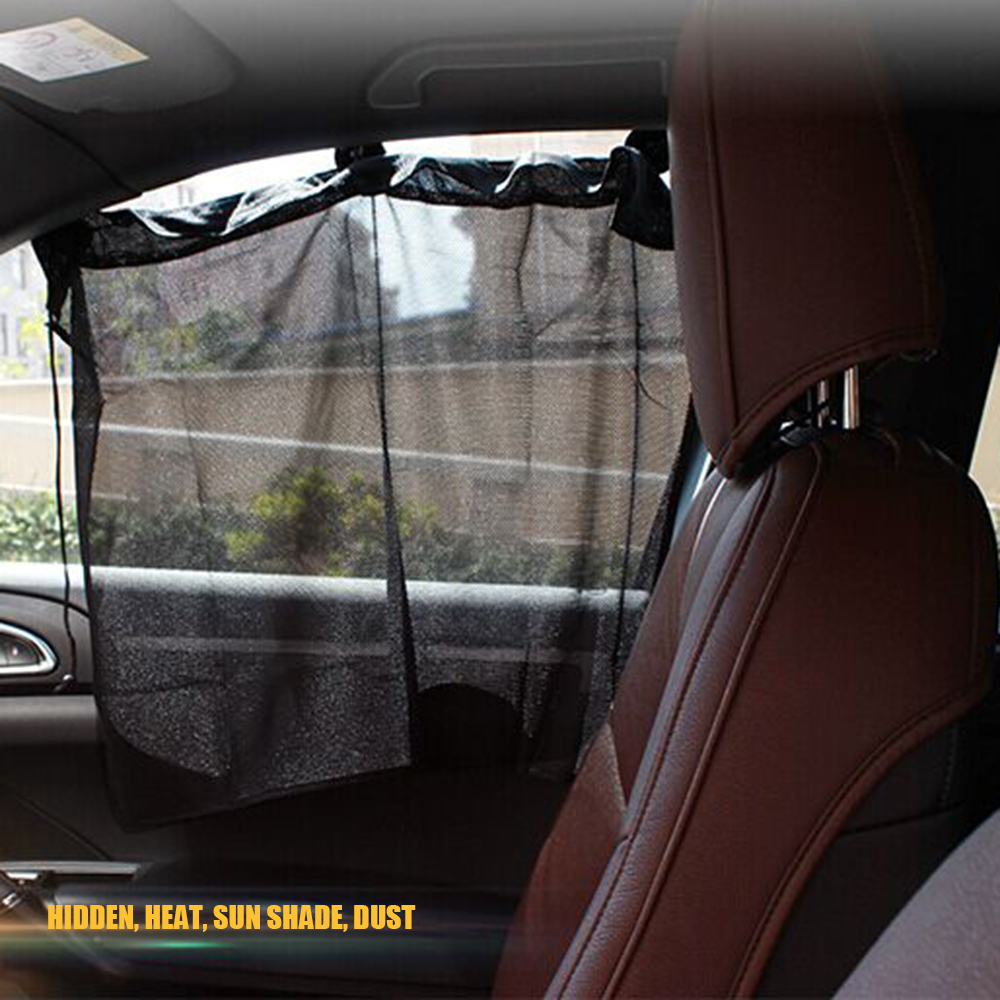 Car interior curtains - 2pcs Window Curtains 3 Suction Cups 1 Concealed Eyelet Hole