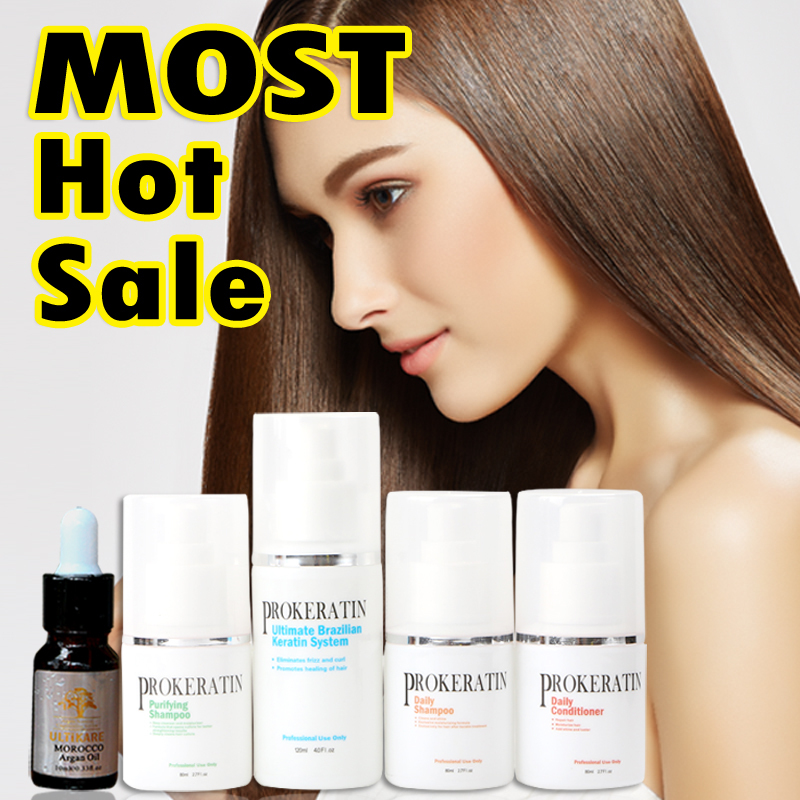Cheap  Brazilian keratin treatment straighten hair sets+ daily shampoo +daily conditioner argan oil  at home DIY new new hot sale brazilian hair keratin treatment daily hair shampoo free shipping