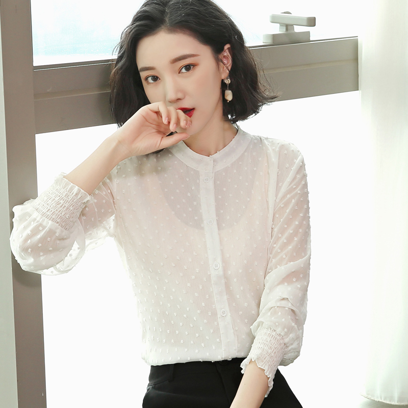 ccef604576e 2018 New Autumn Cute Women Shirts Polka Dot Full Sleeve V Neck + Bask Han  Fan On Clothes Blouse Shirt White Pink Black 616-in Blouses   Shirts from  Women s ...