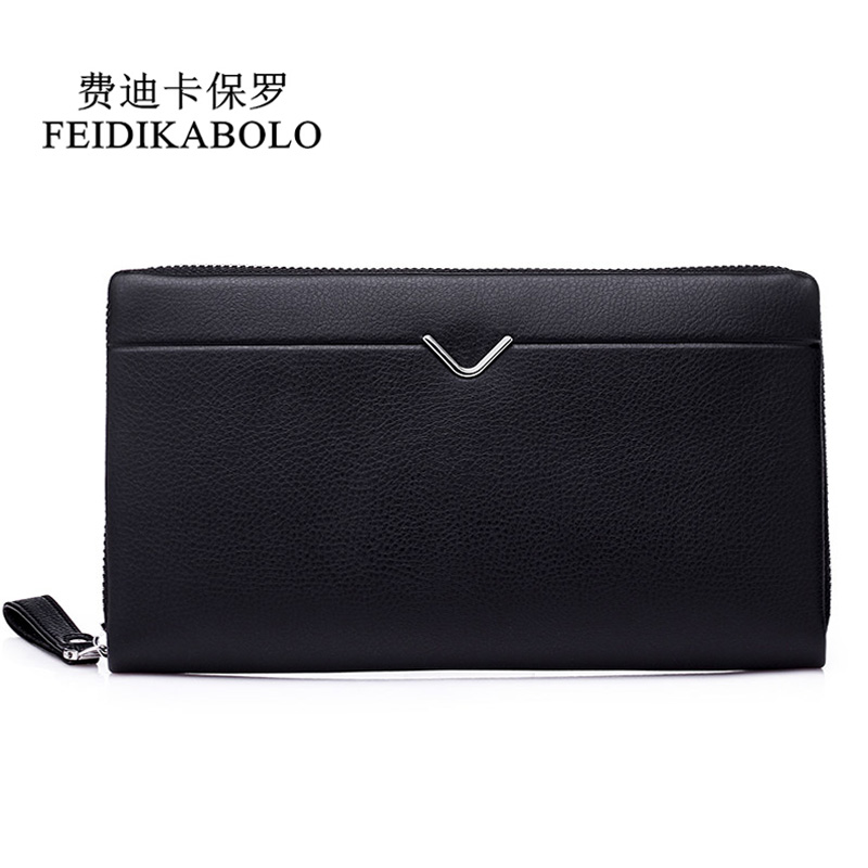 FEIDIKABOLO Men Leather Long Wallet Clutch Bag Men's Pruse Male Clutch Zipper Around Wallets Men Money Clip Wallet mltifunction feidikabolo brand zipper men wallets with phone bag pu leather clutch wallet large capacity casual long business men s wallets