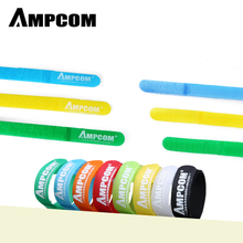 """AMPCOM Fastening Cable Ties Reusable Hook and Loop Multi-Color Cord Management Wraps - 6""""×1/2"""" 8 Colors 20pcs reusable hook and loop fastening cable ties with microfiber cloth and 20pcs silicone bag ties cable management"""