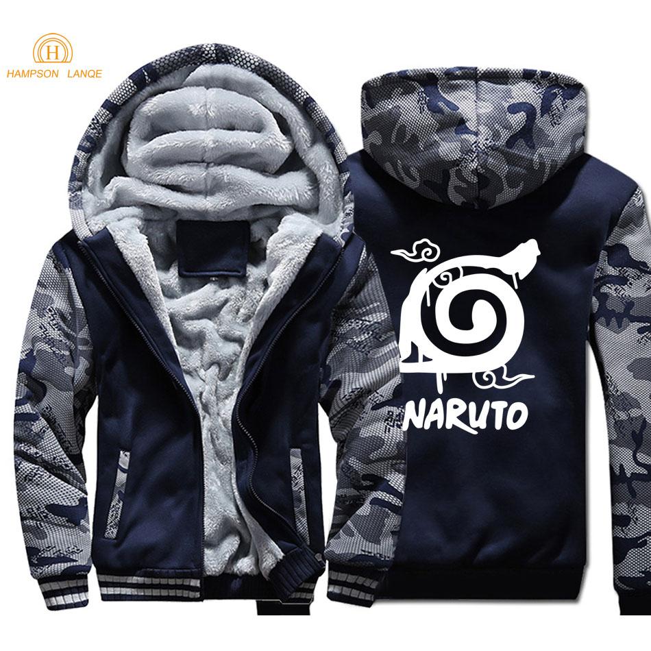 Naruto Uzumaki Anime Thick Hoodies 2019 Autumn Winter Jackets Men Thick Warm Men's Tracksuit Casual Jackets Slim Fit Men's Coat