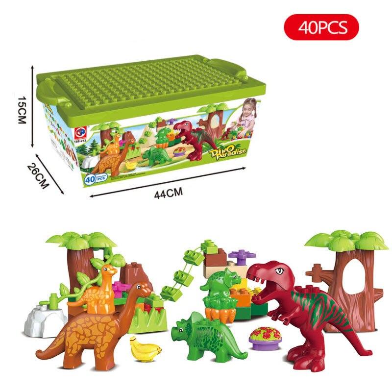 40 teile/los Dino Tal Bausteine Setzt Große partikel Tier dinosaurier Welt Modell spielzeug Ziegel Legoing Duplo Weihnachten geschenk
