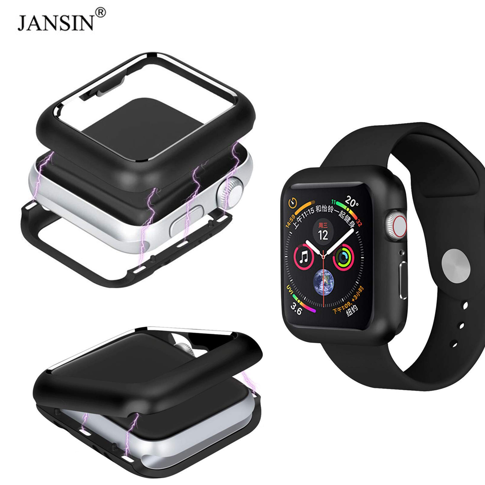 купить JANSIN Magnetic Adsorption Protective Case For Apple Watch 44mm 40mm 42mm 38mm Screen Protector Cover for iWatch Series 4 44mm недорого