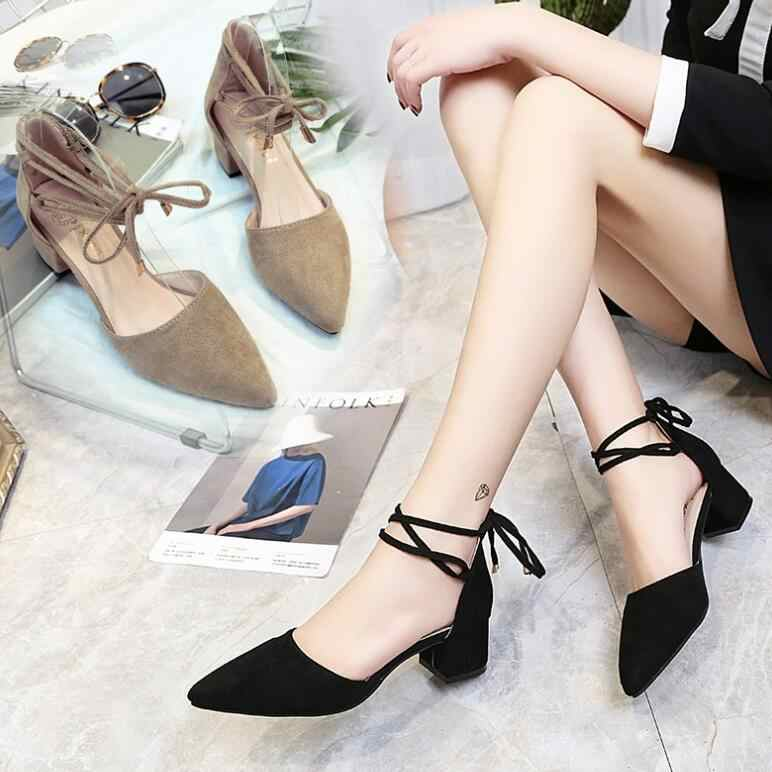 2019 spring new hollow coarse sandals high-heeled shallow mouth pointed pumps  shoes work shoes e13d31022ce3