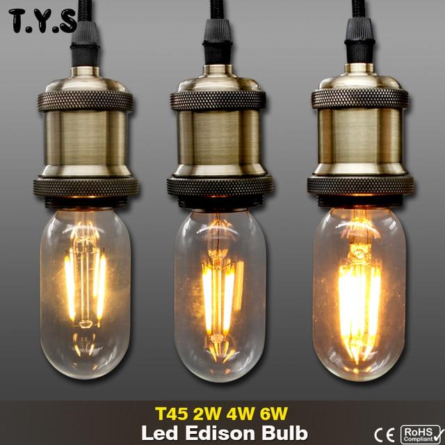 Led Edison Bulb T45 Light Bulb 6W 4W 2W E27 Christmas Lights Indoor Retro  Lamp Edison - Led Edison Bulb T45 Light Bulb 6W 4W 2W E27 Christmas Lights Indoor