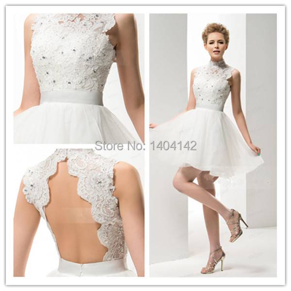 2015 Cute White Mini Short Wedding Dress Beaded High Collar Backless ...