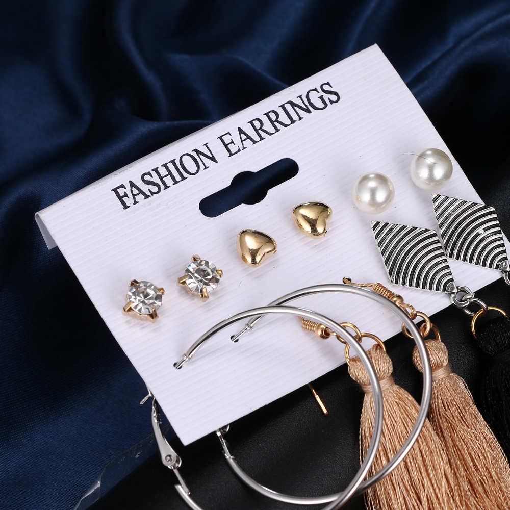 Bohemia Daun Rumbai Panjang Drop Anting-Anting untuk Wanita Multilayer Payet Simulasi Mutiara Anting-Anting Set Perhiasan Pernyataan 6 Pasang/Set