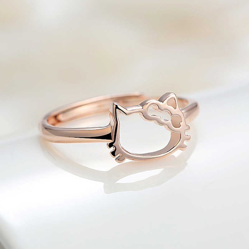 29d19c1a6 925 sterling silver ring for woman Korean style Cute hello kitty fashion  ring womens tail ring
