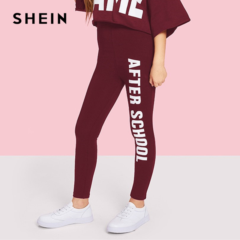 SHEIN Kiddie Burgundy Letter Print One Side Girls Pants 2019 Spring Active Wear Stretchy Girl Leggings Casual Sweatpant