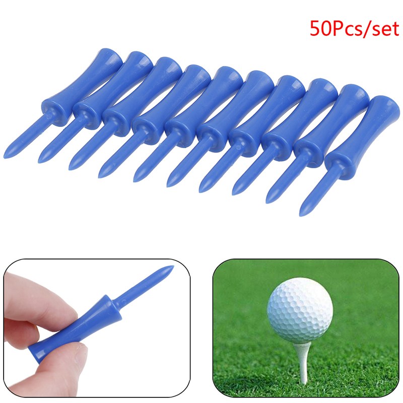 50Pcs/set Activing  Blue Color Plastic Golf Tees 83mm Durable Rubber Cushion Top Golf Tee 68mm