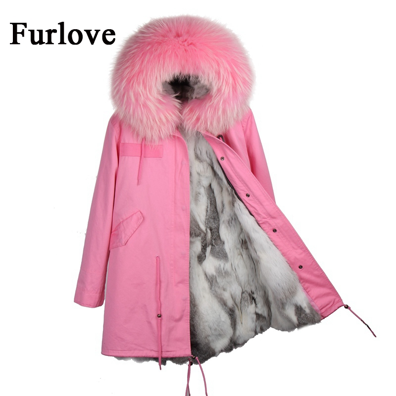 New long winter jacket women 2017 coats parka real raccoon fur collar hooded natural rabbit fur coat thick warm fur liner parkas 2017 winter new clothes to overcome the coat of women in the long reed rabbit hair fur fur coat fox raccoon fur collar