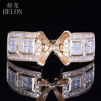 HELON Princess 6mm Cut Solid 14k ( 585 ) Yellow Gold Real Natural Diamond Semi Mount Engagement Wedding Trendy Fine Jewelry Ring