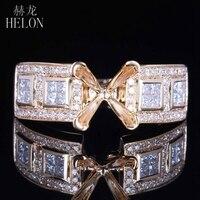 Helon принцессы 6 мм огранка SOLID 14 К (585) желтое Золото натуральным алмаз полу крепление Обручение Свадебные Мода Ювелирные украшения кольцо