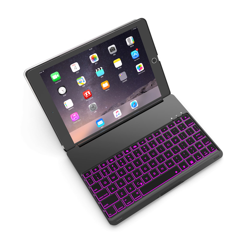 Luxury Slim Tablet Case for iPad Air 2 7 Colors Backlit Light Aluminum Bluetooth Keyboard Case Cover Smart Bag for iPad 6 Capas slim case for ipad mini 4 aluminum wireless bluetooth keyboard 7 colors backlit protective smart cover for ipad mini4 flip stand