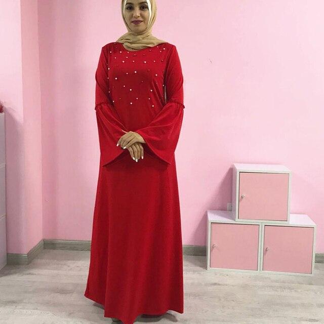 c9b7d751425729 Plus Size 2018 VAE Abaya Dubai Marokkaanse Kaftan Arabisch Jurken Moslim  Parels Hijab Jurk Vestido Jurken Turkse Islamitische Kleding