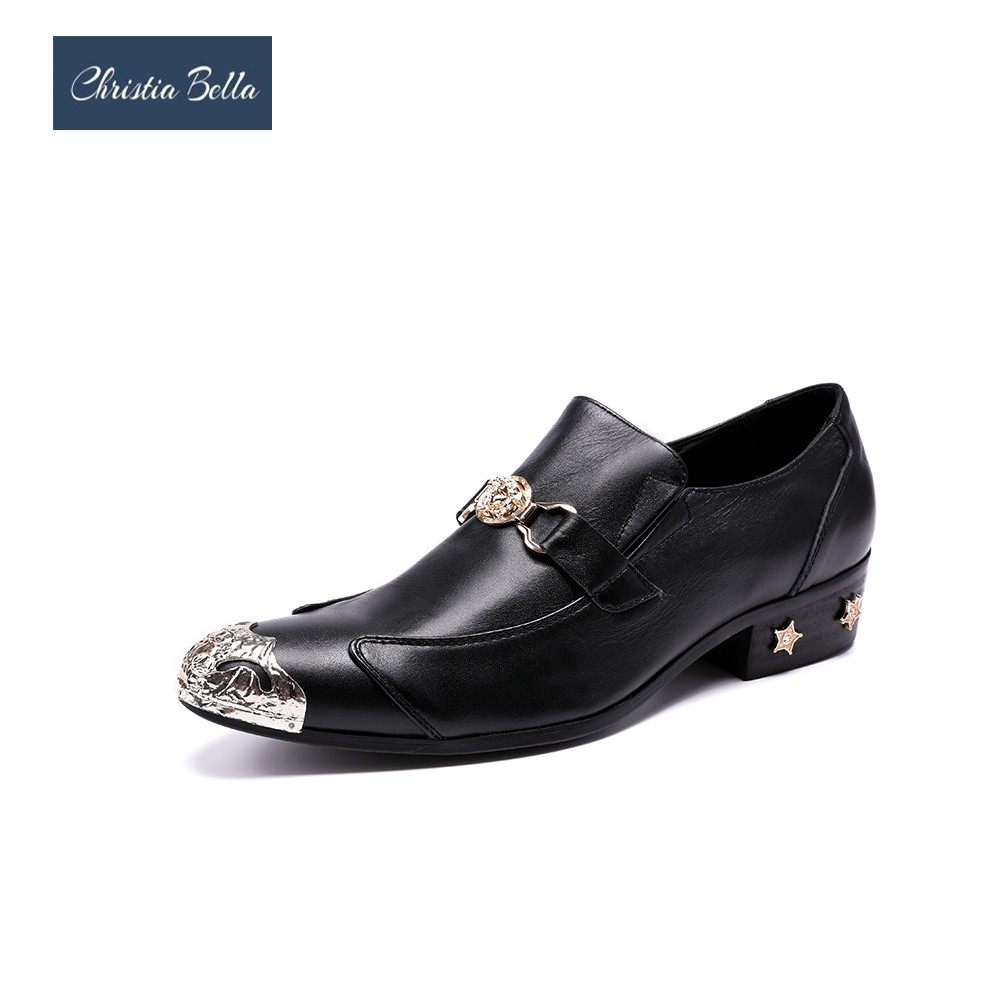Christia Bella Evening Party Wedding Shoes Hairdress Sexy Oxfords Handmade  Pointed Toe Metal Tip Genuine Leather Men Dress Shoes 1940eea9cc59