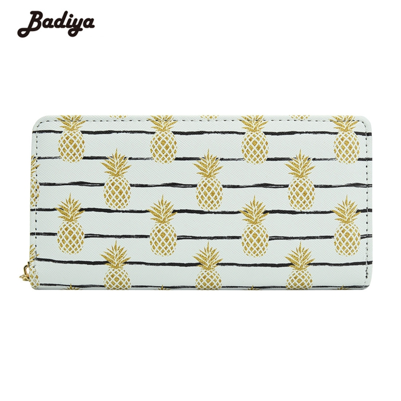 Lovely Women Pineapple Printing Long Wallet Girl Teenager Casual Coin Purse Phone Case Card Holder Bag Female Carteira