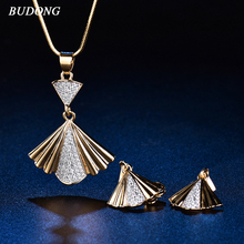 BUDONG Infinity Unique Dress Shape Gold Color Bridal Jewelry Sets for Women Wedding with High Quality AAA Zircon XUT047A