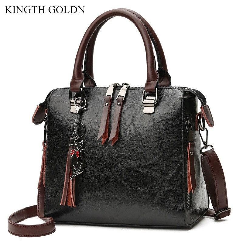 KINGTH GOLDN Vintage Women Handbag Crossbody Bag Women Tassel Shoulder Bags Large Capacity Casual Genuine Leather Messenger Bag