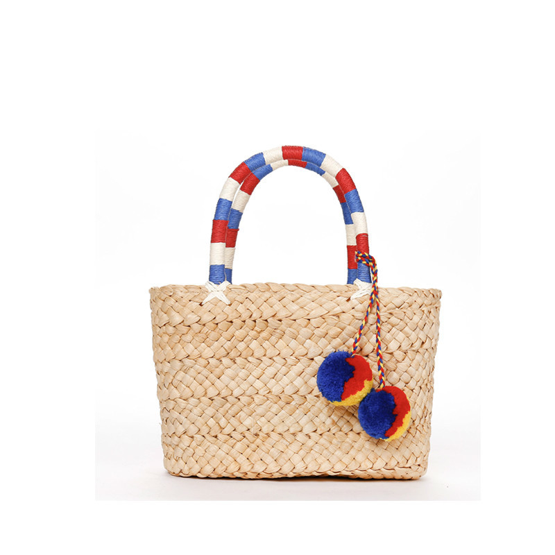 где купить Fashion Colorful Pompom Straw Mini Portable Beach Handbag bolsa feminina bag по лучшей цене