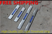 High quality LED Light Stainless Steel pedal Door sill scuff plate External Cover threshold 4pcs for T0y0ta Premio