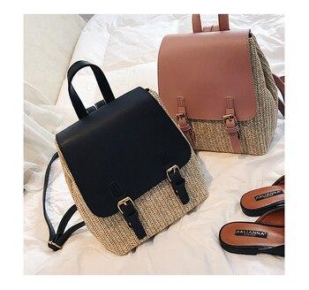 Las mujeres de mochila de viaje de la moda de cuero bolsas nacional paja mochilas