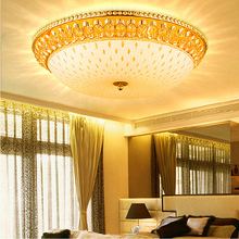 American Modern Crystal Ceiling Lights Fixture LED Gold Lamps European Round Dining Bed Living Room Home Indoor Lighting