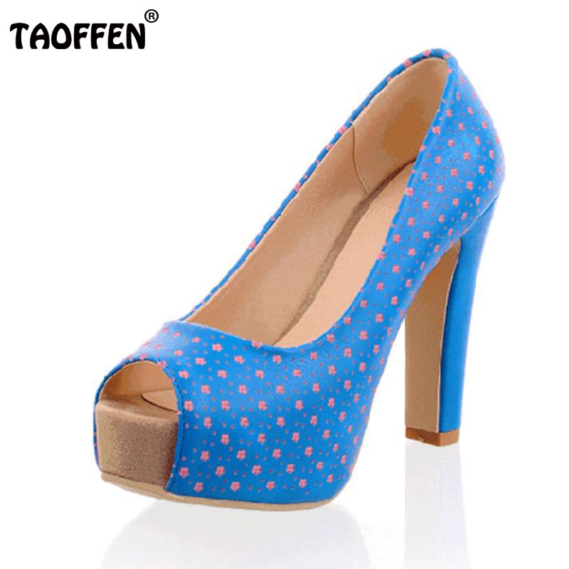 Size 32-43 Women High Heel Shoes Peep Toe Ladies Square Heels Party Wedding Shoes Women's Sexy Heels Footwear Print Pumps Shoes zorssar brand 2017 high quality sexy summer womens sandals peep toe high heels ladies wedding party shoes plus size 34 43
