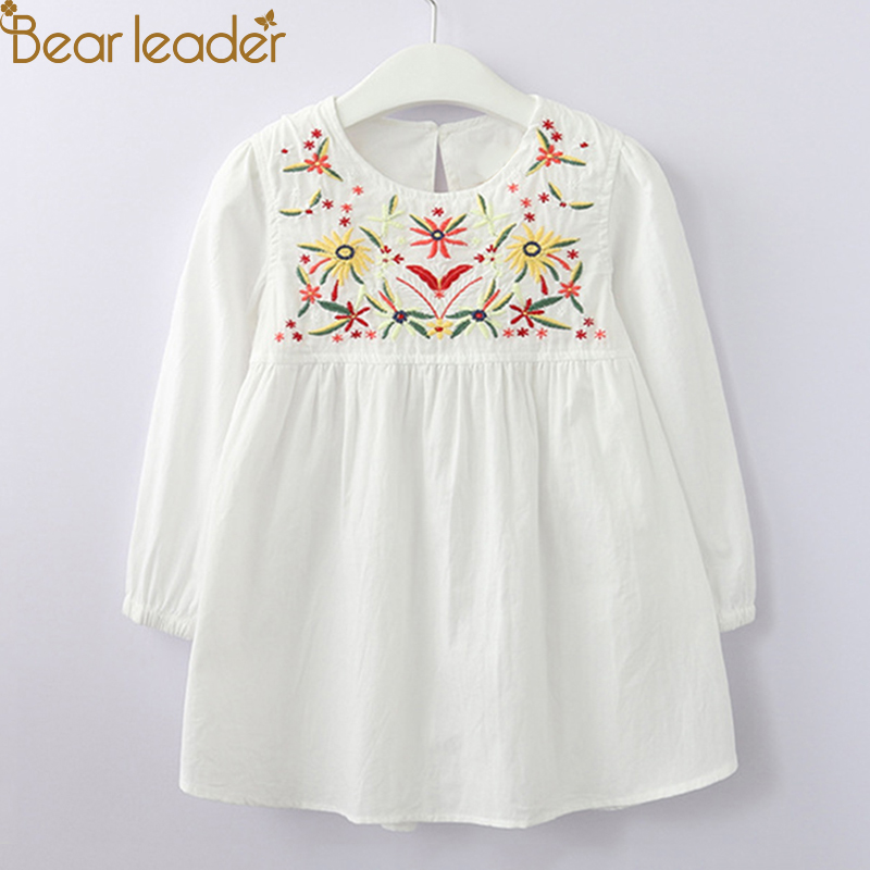 Bear Leader Girls Dress 2018 New Antumn Flower Embroidered Kids Dress Long Sleeve Dress For 3-11 Years chic spaghetti strap solid color tank top 3 4 sleeve embroidered pleated dress twinset for women