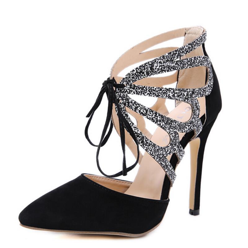 Femmes Creux Black Strass Roman 2019 Hihopgirls Sandales Décoratif New Hauts Diamant Femelle À Haute Talons D'été qy0RyHtwp