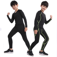 Winter Warm Kids Men Compression Running Sets Sports Pants Shirts Survetement Football Youth Thermal Leggings With