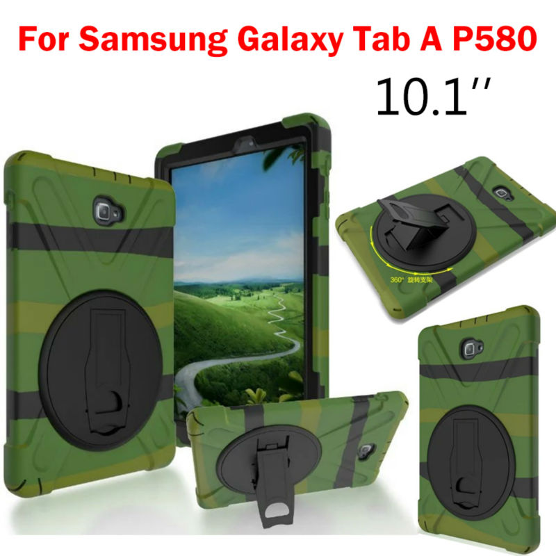 Tab A P580 P585 Flip Heavy Duty Case For Samsung GALAXY Tab A 10.1'' P580 P585 SM-P580 Tablet Cases Back Cover Funda Stand Shell case cover for samsung galaxy tab a a6 10 1 p580 p585 10 1 inch tablet funda 360 degree rotating flip leather stand shell case