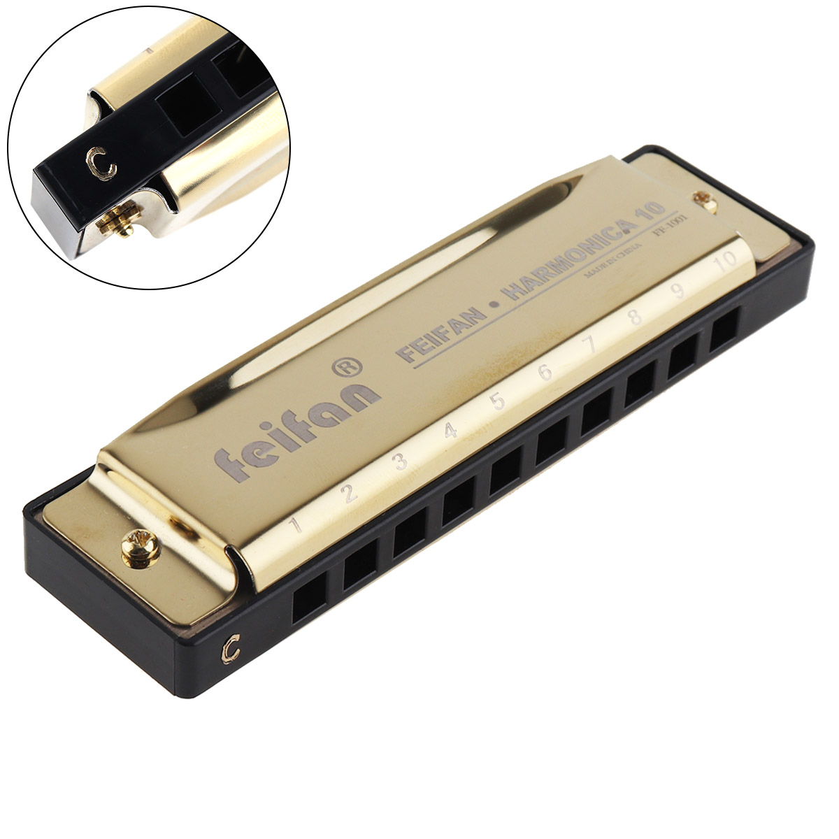 10 Holes 20 Tone Matte Gold/Black Portable Harmonica Blues Harp Mouth Organ Stainless Steel Musical Instrument For Beginner