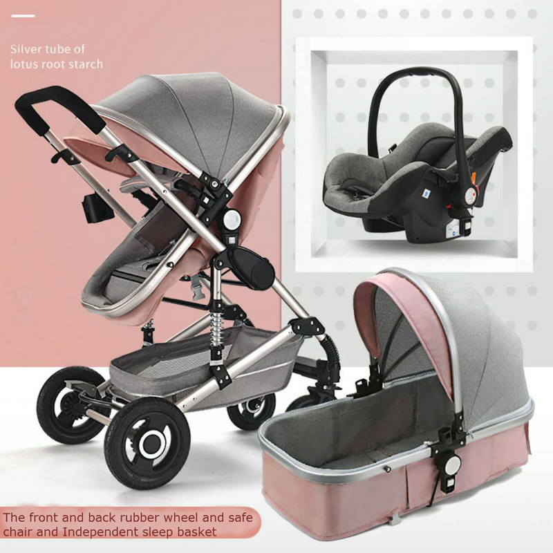 Baby Stroller 3 in 1 High Landscape Pram foldable pushchair Car Seat Can sit and lie Baby carriage Babies Sleeping basket