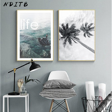 Landscape Wall Art Canvas Poster Sea Ocean Beach Print Nordic Style Painting Decorative Picture Modern Living Room Decoration modern decor wall artwork natural landscape picture 1 piece sea coast tropical paradise beach ocean island boat canvas poster