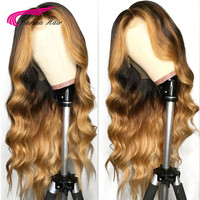 Carina Pre Plucked Body Wave Lace Front Human Hair Wigs Human Remy Hair With Baby Hair T1B427# Ombre With Blonde Hightlights