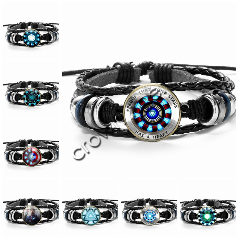 Hot Anime Marvel Leather Bracelet Avengers Iron Man Arc Reactor Action Toy Figure Tony Stark Glass Gem Charm Bracelet Bangles