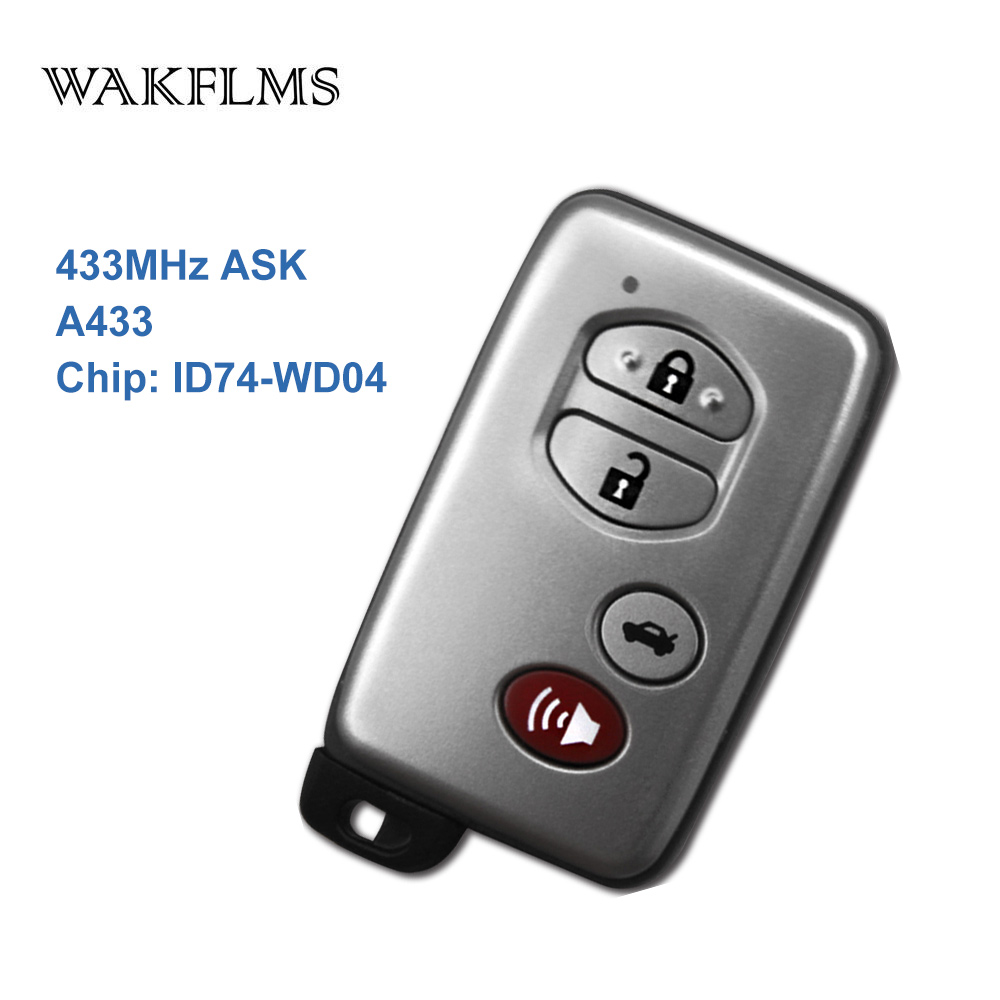4 Buttons 433MHz PCB No A433 ID74 WD04 Chip Sliver Keyless Go Entry Remote Car Key