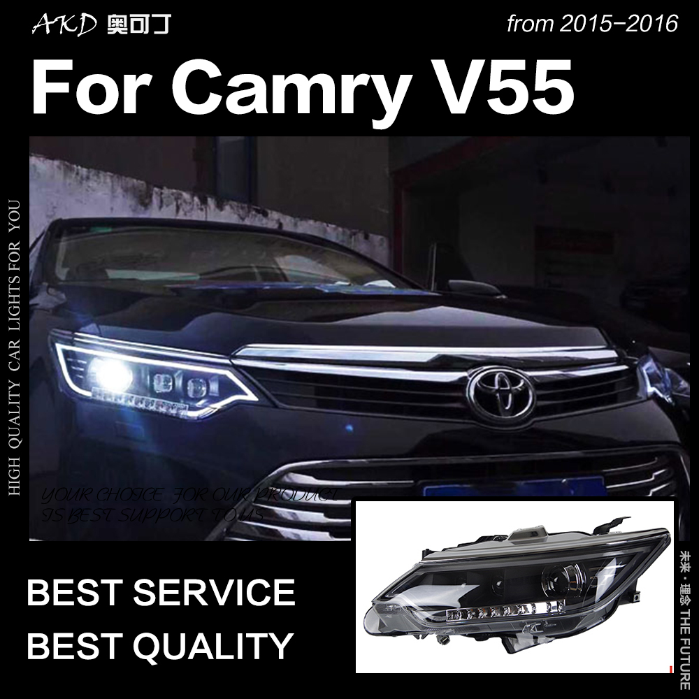 Akd Car Styling For Toyota Camry Headlights 2017 2016 V55 Led Headlight Eagle Eye Brand Drl Hid Bi Xenon Auto Accessories In Light Embly From