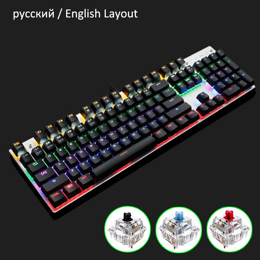 Mechanical Keyboard Full Anti ghosting Gaming Keyboard Aluminum Metal Panel With Key Cap Puller for Gamer Russian English Layout