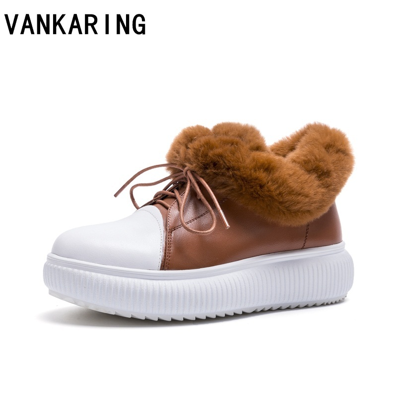 VANKARING women winter shoes creepers casual women flats platform ankle shoes black fashion lace-up genuine leather fur loafers rihanna pu leather creepers flat platform shoes woman 2016 casual loafers black pink flats lace up women shoes