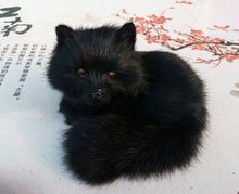 cute simulation black fox toy resin&fur fox small fox doll gift about 13x9x12cm