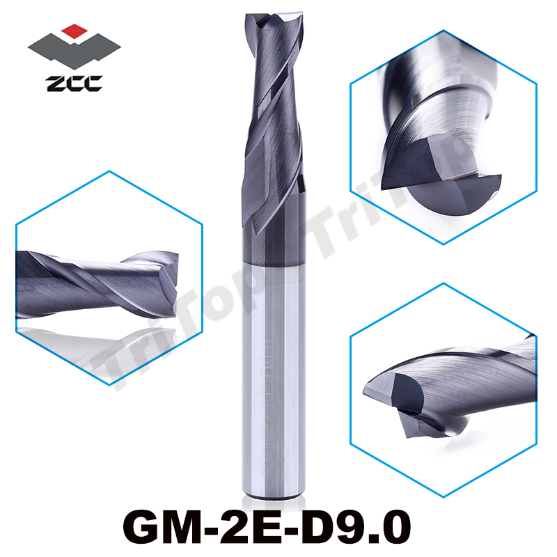 ZCC.CT cnc milling GM-2E-D9.0 TiAIN coated Carbide end mills 2 flute d9 9.0mm straight shank milling cutter free shipping