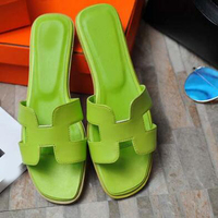 Fashion Summer Slides Women Green Silver Red Sandals Shoes Slipper Flats Outside Casual Shoes
